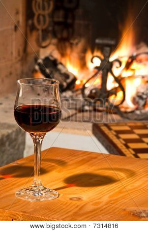 Red wine &  fireplace