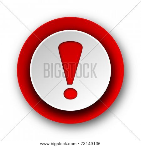 exclamation sign red modern web icon on white background