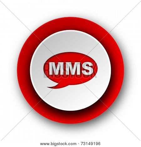 mms red modern web icon on white background