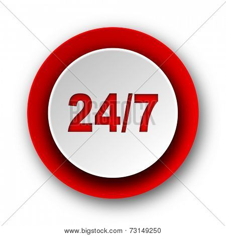 24/7 red modern web icon on white background