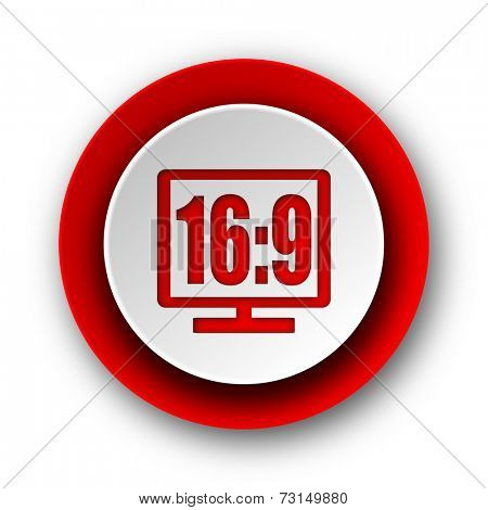16 9 display red modern web icon on white background