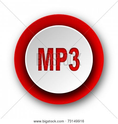 mp3 red modern web icon on white background