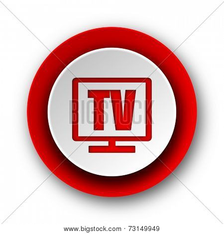 tv red modern web icon on white background