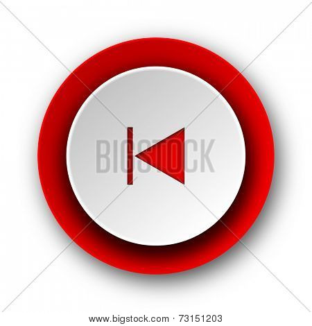 prev red modern web icon on white background