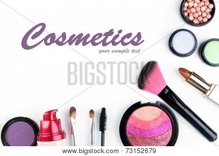 Beautiful decorative cosmetics and makeup brushes, isolated on white