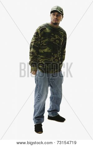 Portrait of African man wearing camouflage