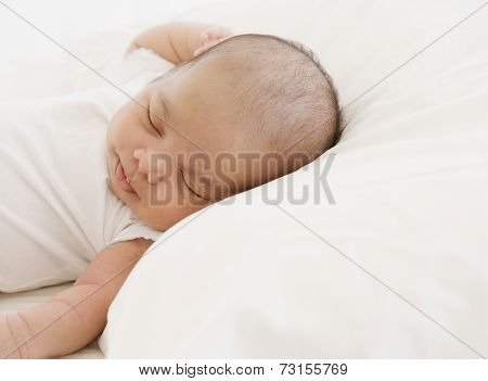 Close up of sleeping newborn baby