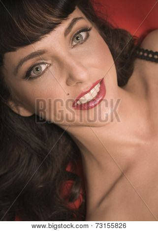 Close up of woman with retro style