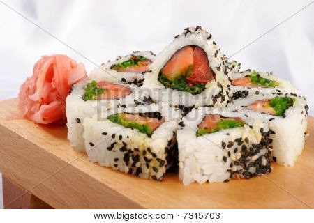Sushi Rolls With Tuna And Green Onion