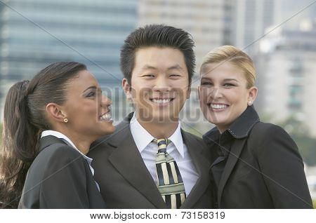 Multi-ethnic businesspeople outdoors