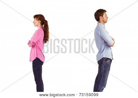 Man and woman facing away from each other on white background