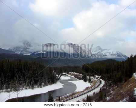 Railroad Tracks In The Canadian Rockies