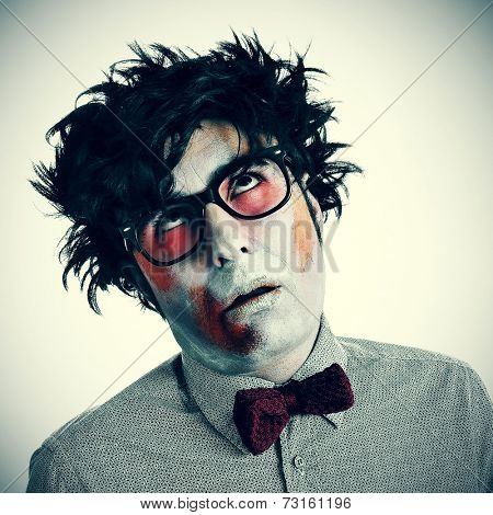 a hipster zombie wearing a bow tie and glasses