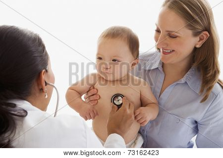 Russian baby being examined by female doctor