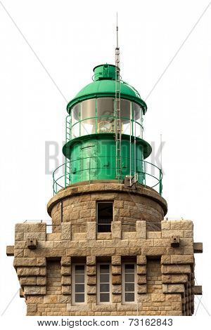 Lighthouse lantern isolated over white background, cap Frehel, Brittany, France