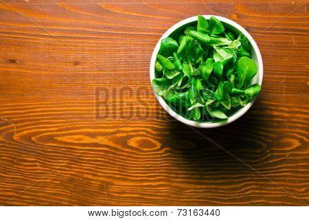 corn salad, lamb's lettuce on old wooden table