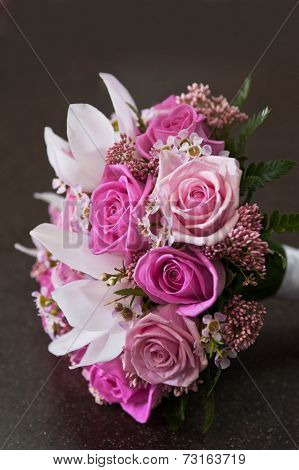 close up of beautiful wedding roses bouquet