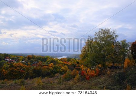 Automn landscape with the image of Oka river, Russia