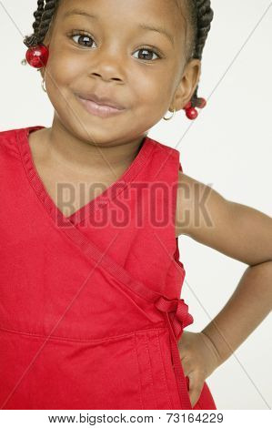 African girl with hand on hip