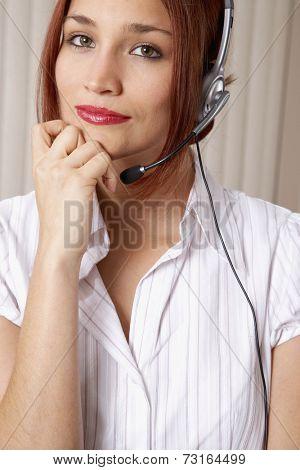 Native American businesswoman wearing headset