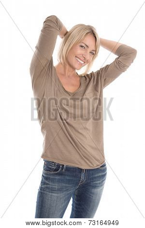 Portrait of a satisfied isolated mature pretty blond woman over white.