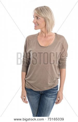 Beautiful isolated middle aged blond woman looking sideways to text.