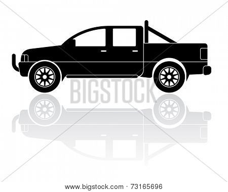 Vector Illustration of modern pickup truck silhouette