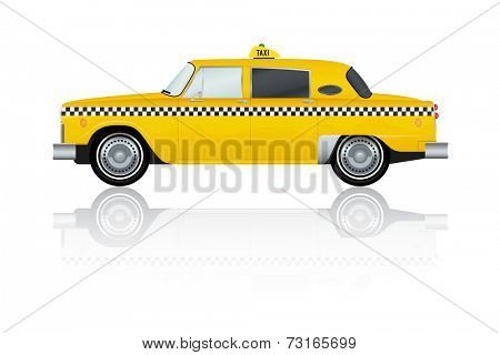 Vector Illustration of vintage yellow New York Taxi