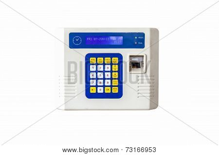 Fingerprint And Password Lock In A Office Building, Clipping Path.