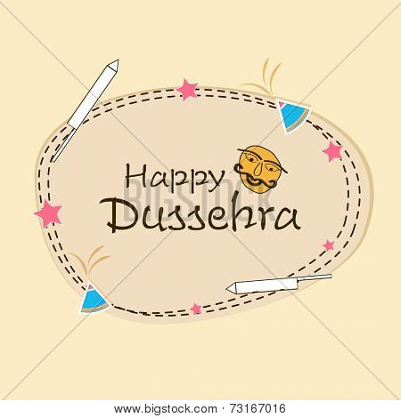 Stylish text of Happy Dussehra with funny face surrounded by crackers and stars.