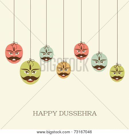 Illustration of seven colourful Ravana faces with stylish text on simple white background.