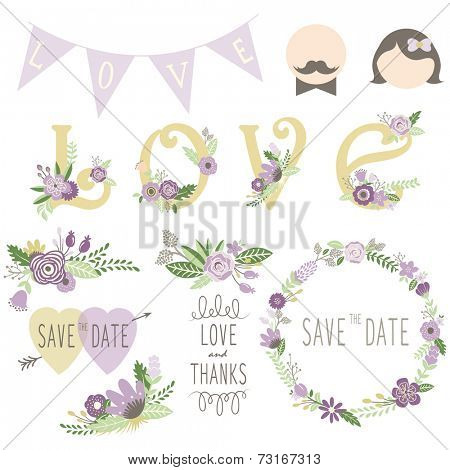 Wedding Floral Invitation Elements