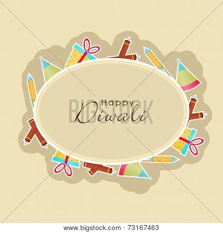 Poster for Diwali with Happy Diwali text in frame surrounded by colorful crackers and gifts.