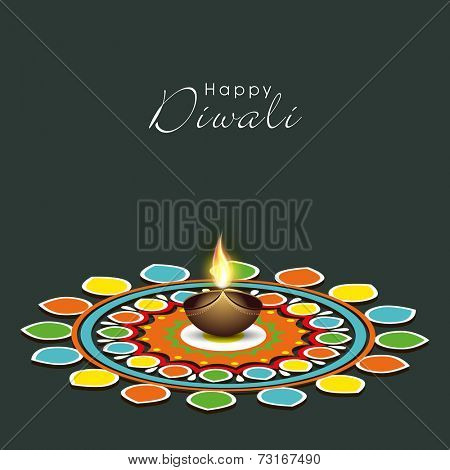 Illustration of colourful rangoli with illuminated brown lit lamp in center and stylish text.
