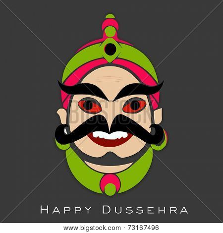 Illustration of colourful laughing Ravana face wearing crown with big moustache.