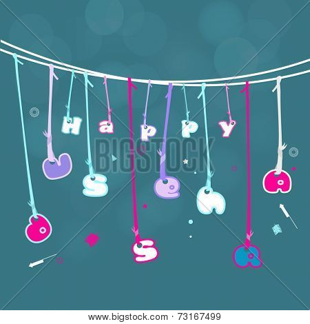 Hanging text of Happy Dussehra binding with colourful ribbon on blue background.