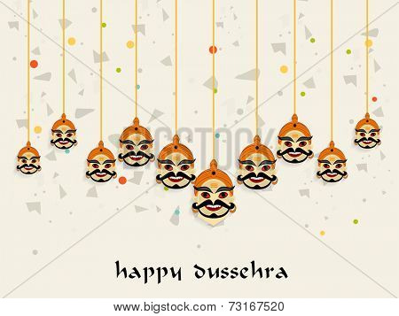 Ten hanging faces of Ravana with stylish Dussehra wishing text.