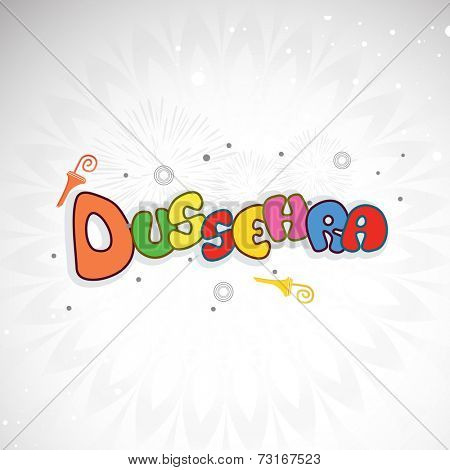 Illustration of coloururful text Dussehra with small umberella on floral decorated grey background.