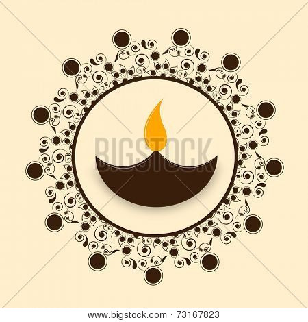 Illustration of designer rangoli with a illuminated lampion in center.
