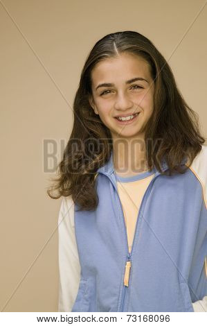 Middle Eastern girl wearing sweatshirt
