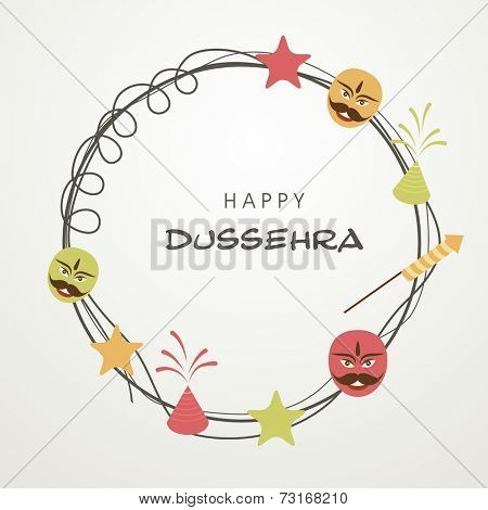Illustration of Happy Dussehra text in a frame surrounded by funny faces; stars and fireworks.