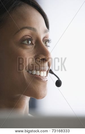African American businesswoman wearing headset