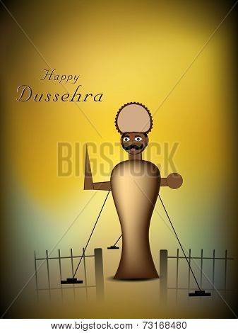 Illustration of Ravana statue with stylish text on abstract background.