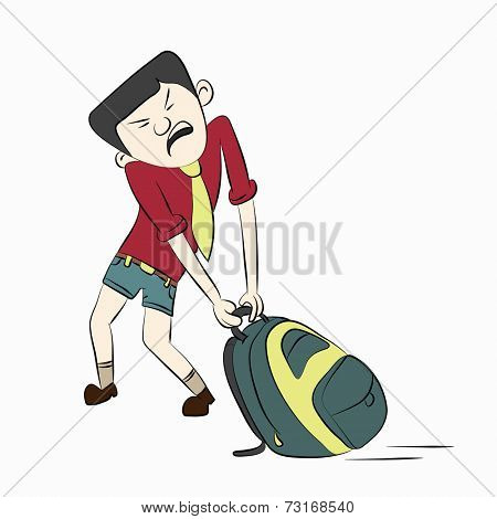 Cartoon character of a boy trying to pull his heavy bag .