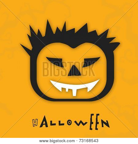 Illustration of a mask with danger black eyes and white mouth with stylish text on grungy orange background.