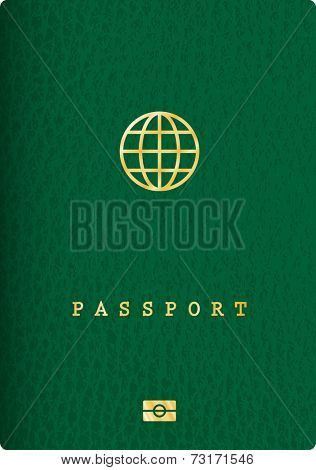 vector green leather biometric passport