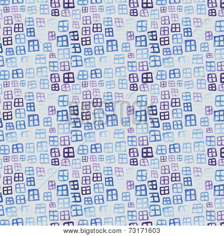 Vector window watercolor pattern, texture with window. window pattern. Original window background. Blue window pattern. window watercolors. Ornament. Painting