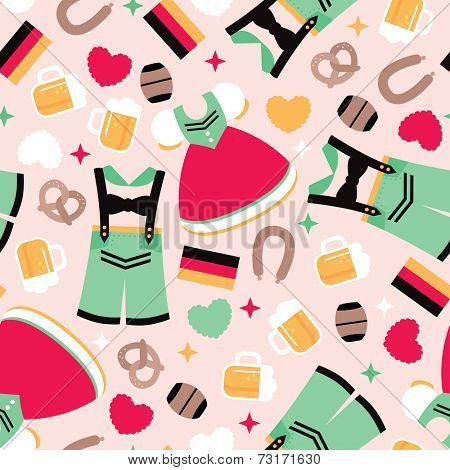 Seamless German traditional clothes and Oktoberfest icons illustration background pattern in vector