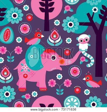 Seamless kids India elephant monkey and bird jungle oriental pink illustration background pattern in vector