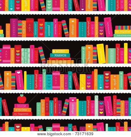 Seamless book shelf back to school books illustration background pattern in vector
